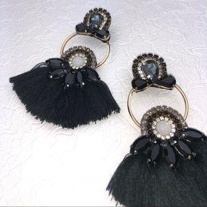 Shiny black Double Hoop Statement Earrings